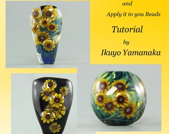 Lampwork Tutorial: How to make sunflower murrini and apply it to your beads by Ikuyo Yamanaka
