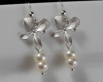 Silver Sweet Love Earrings (E860) - Sterling Silver & Freshwater Button Pearls