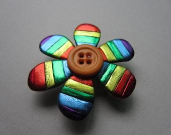 Rainbow flower Pin Brooch purple, orange, red, yellow, green, blue