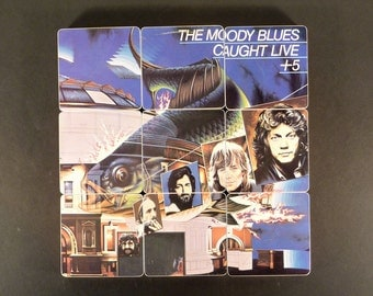 The MOODY BLUES upcycled Caught Live +5 album cover coasters with record bowl