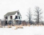 Brighter Days - Abandoned, Farmhouse of a Serial Killer, Nathaniel White, Snow, Winter Landscape, Icy White, Trees, Fine Art Print