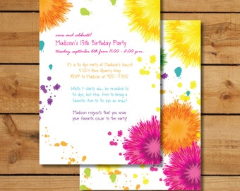 Tie Dye Birthday Party Invitations, Art Party Invitations, Hippie Birthday Party Invitations, Hippie Invitation, Tie Dye Invitation, Kids