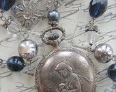 Blue Marguerite-antique vintage pocket watch and daisy assemblage necklace