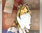 Collie Dog 3 D Blank Greeting Card with Free Gift Tag