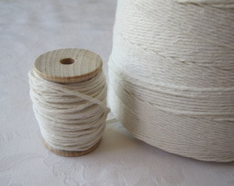 25 Yards Cotton Twine, Bakers Twine, Natural Cotton Twine, Cotton String, on 2 Inch Wood Spool