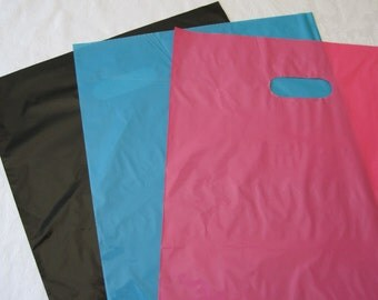 50 12x15 Plastic Bags, Black Bags, Pink Plastic Bags, Blue Bags, Shopping Bags, Retail Merchandise Bags, Favor Bags