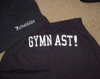 Personalized Black Shorts Gymnast Printed Butt shorts youth Large Competition