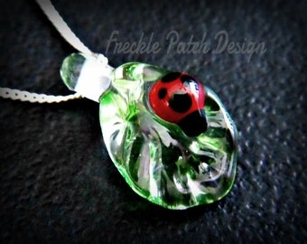 Lampwork  Glass & Argentium Silver Lady Bug Leaf Necklace, Sample Photo, Made to Order