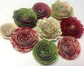 Handmade Spiral Flowers - Set of Nine - Christmas Past