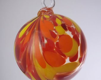 Fire Red Orange Yellow and Clear Feather Blown Glass Ornament 3.5 inches FREE SHIPPING