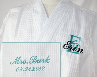 Personalized Plus Size Bride Robe front & back embroidery Wedding Date