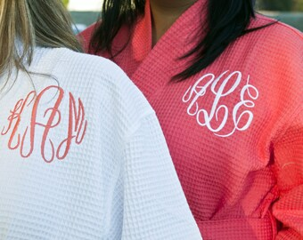 SALE Monogrammed Coral Waffle Robe, Bridesmaid Robe, Bridal Party Robe, Personalized Bridesmaid Gift, Coral Robe, Gift for Her, Monogram