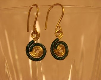 Simple Gold Spiral and Green Coiled Spiral Earrings