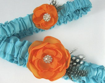 Aqua Blue and Orange Feather Rose Wedding Garter Set A123 - bridal garter accessory