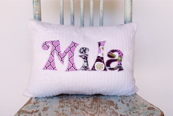 A Monogrammed Pillow in TWILIGHT for the Home and Nursery, Personalized with Your Baby or Toddler Girl's First Name in Purples
