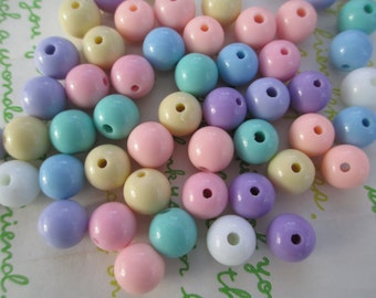 NEW item Candy Pastel color mix  Acrylic Beads 25pcs Size 10mm Random mix