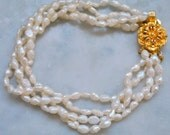 Freshwater Pearl Bracelet with Gold Clasp - SALE