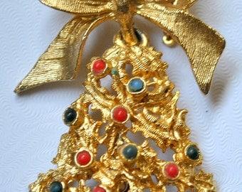 Christmas Tree Bell Brooch