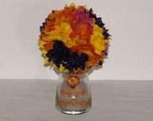 "6"" Wedding Pomander Ball  Wedding table Decor wedding centerpiece Kissing Ball orange flower arrangement  silk flower centerpiece"