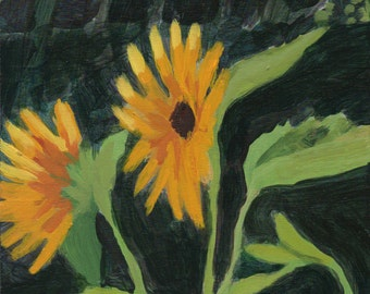 August Sunflowers - original art, original painting, small painting, affordable art, fine art by Irene Stapleford
