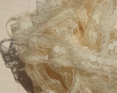 "Vintage Lace Trim - Cream Dot Pattern Sheer Lace - 11/16"" Wide"
