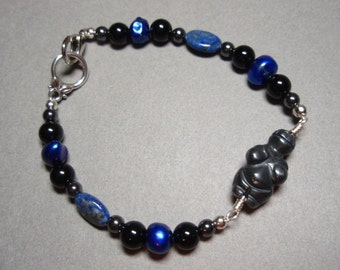 Hematite Goddess - Hematite Onyx Freshwater Pearls and Lapis Lazuli Gemstone Beaded Bracelet