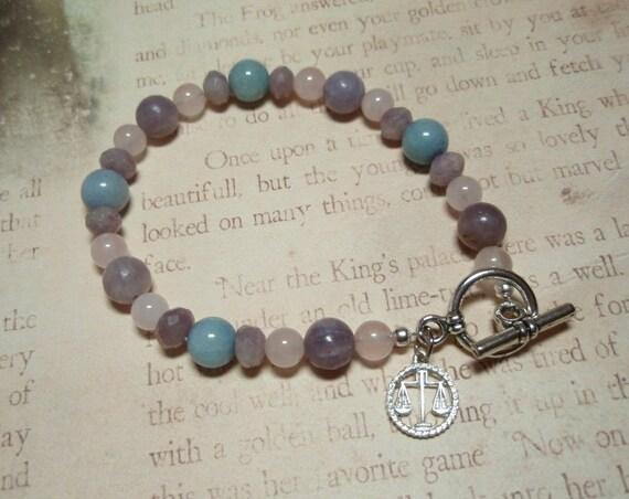 Libra - Zodiac Charm Rose Quartz Lepidolite Blue Aventurine Bracelet