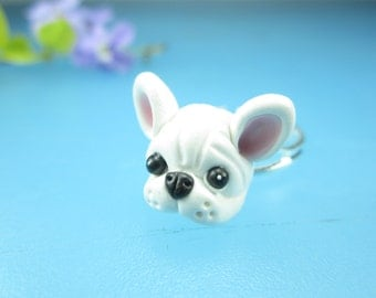 White French Bulldog Ring gifts jewelry , dog ring polymer clay, French bulldog jewelry, dog ring, Frenchie gift friend dog lover miniature