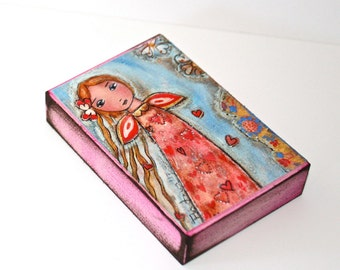 Loving Fairy - ACEO Giclee print mounted on Wood (2.5 x 3.5 inches) Folk Art  by FLOR LARIOS