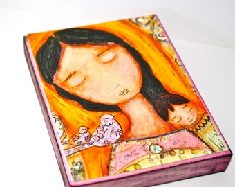 Mother of Peace - ACEO Giclee print mounted on Wood (2.5 x 3.5 inches) Folk Art  by FLOR LARIOS