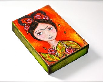 Frida with Braids - Giclee print mounted on Wood (5 x 7 inches) Folk Art  by FLOR LARIOS