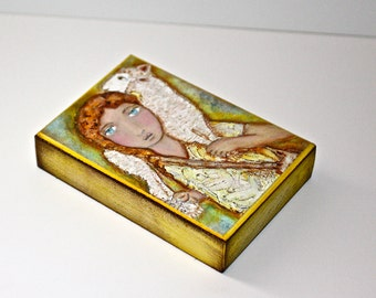 Young Good Shepherd - Giclee print mounted on Wood (5 x 7 inches) Folk Art  by FLOR LARIOS