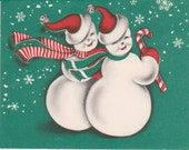 Vintage Christmas Card Norcross Two Wishes Snowman MINT Unused Deco