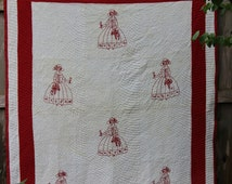 Vintage American Redwork Quilt Red and White Embroidered Red and White Quilt Red Work Lady Wearing a Bonnet and a Full Skirt Basket