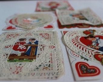 Vintage Valentines with Paper Lace Doily Card Die Cut Embossed Paper Ephemera Antique Valentines Valentine Gift Nostalgic Valentines Gift
