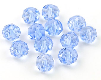 FINAL SALE Light Sapphire Blue Chinese Crystal Rondelles