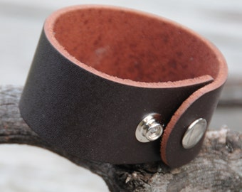 Brown Leather Cuff with adjustable snaps