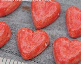 Tango Red Pottery Heart Bead