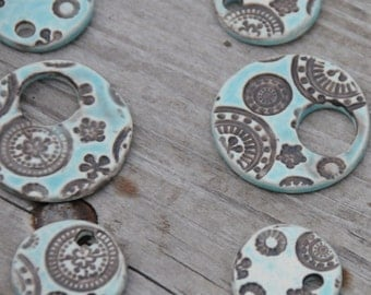 Handmade Pottery Beads 3 piece set in Tahitian Blue with dark accents