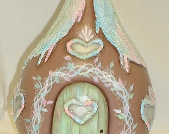 Gingerbread House Gourd - Hand Painted Gourd