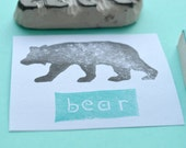 bear  silhouette stamp, hand carved animal stamp, handmade bear rubber stamp