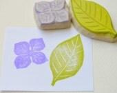 hydrangea hand carved rubber stamp, handmade rubber stamp set