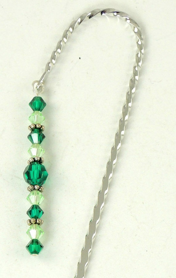 May Bookmark - Emerald, Hook Bookmark, Crystal Bookmark