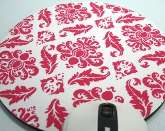 Buy 2 FREE SHIPPING Special!!   Mouse Pad, Round Fabric Computer Mousepad, or Trivet   Pink Damask on White