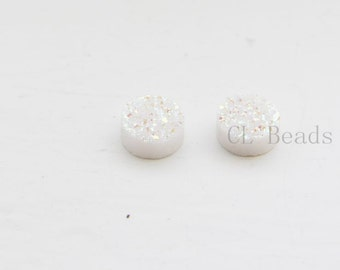 2 Pieces AAA Opal White Coated Drusy Quartz Cabochons-Round 8mm