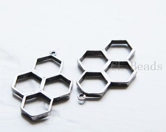 4pcs Oxidized Silver Plated Base Metal Charms - Honeycomb 37x24mm (312C-Q-175)
