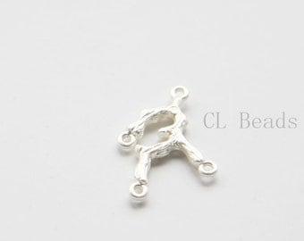 4pcs Matte Silver Plated Base Metal Links- Branch - 26x18mm (482C-S-249)