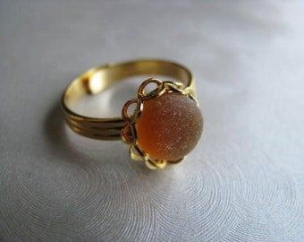 Amber Sea Glass Gold Plated Ring - Beach Glass Ring - Sea Glass Ring - Beach Glass Jewelry