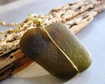 Sea Glass Pendant -  Olive Green - Beach Glass Pendant - Beach Glass Jewelry - Ocean Jewelry Gift - Olive Green Pendant - Statement Pendant