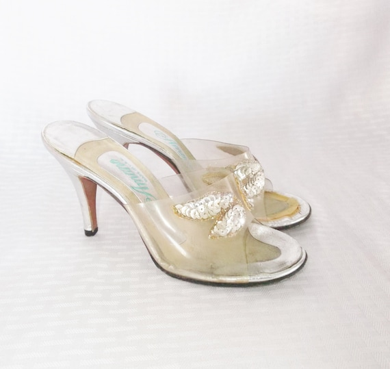 1950u0026#39;s Vintage Clear High Heel Mules Shoes With Sequins